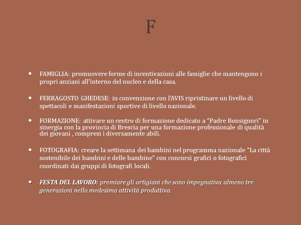 F FAMIGLIA: promuovere forme di incentivazioni alle famiglie che mantengono i propri anziani all'interno del nucleo e della casa.