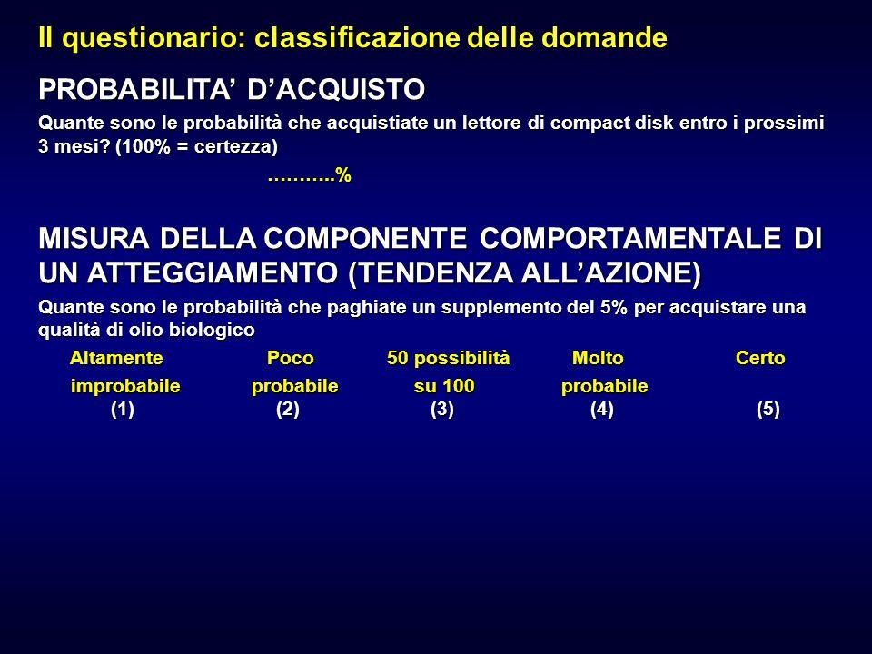 Il questionario: classificazione delle domande