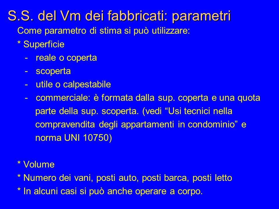 S.S. del Vm dei fabbricati: parametri