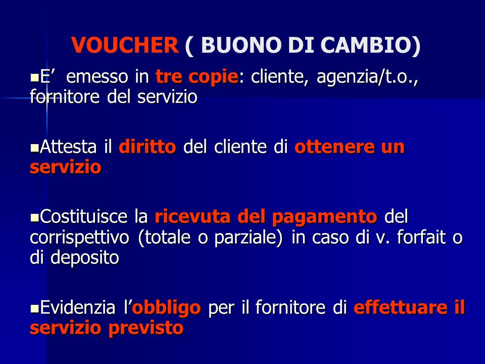 VOUCHER ( BUONO DI CAMBIO)