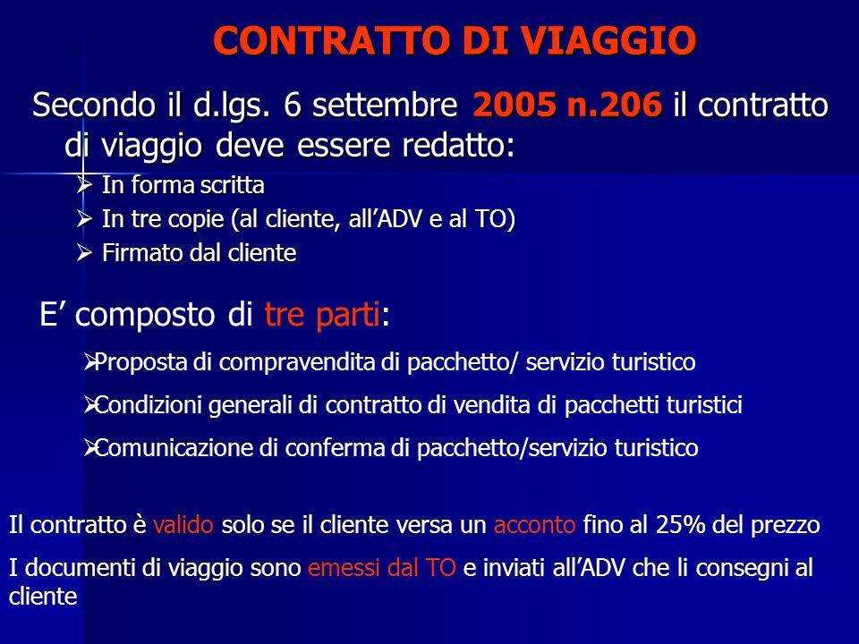CONTRATTO DI VIAGGIO Secondo il d.lgs. 6 settembre 2005 n.206 il contratto di viaggio deve essere redatto: