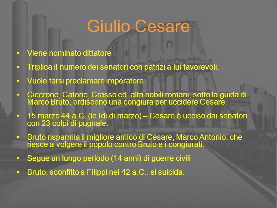Giulio Cesare Viene nominato dittatore