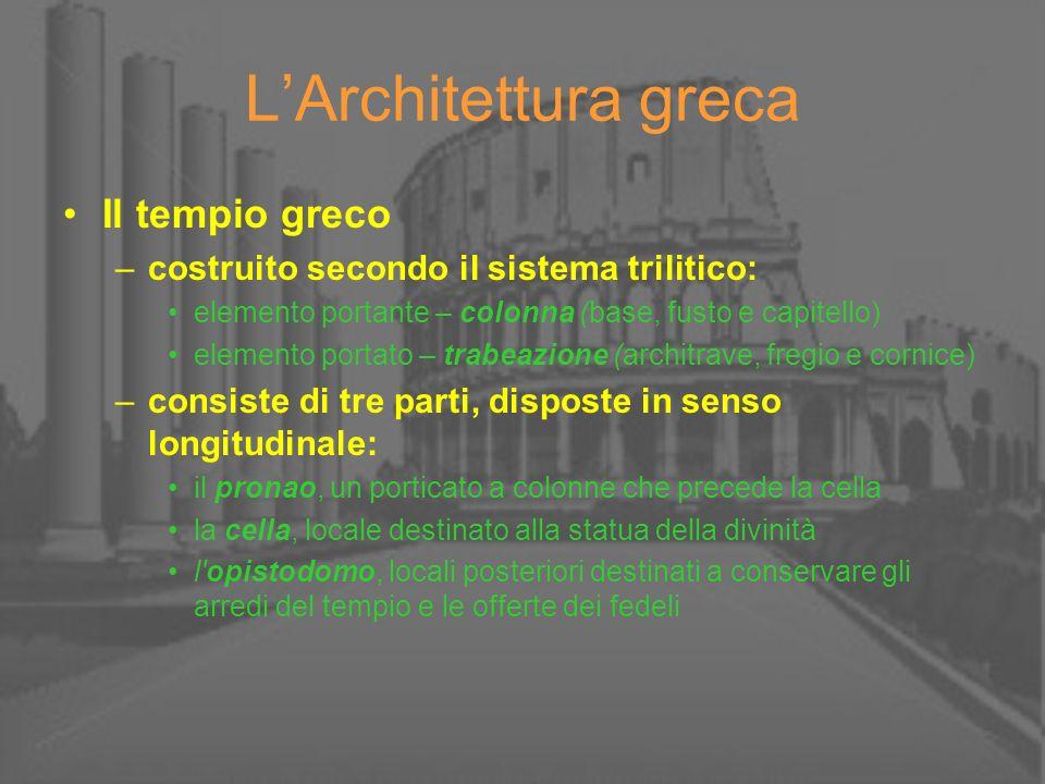 L'Architettura greca Il tempio greco