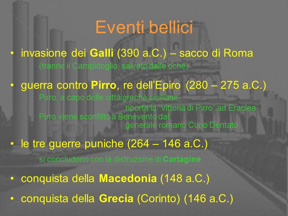 Eventi bellici invasione dei Galli (390 a.C.) – sacco di Roma (tranne il Campidoglio, salvato dalle oche)