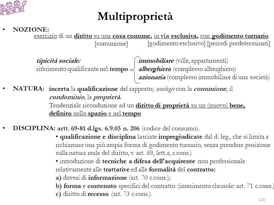Multiproprietà NOZIONE: NATURA: DISCIPLINA:
