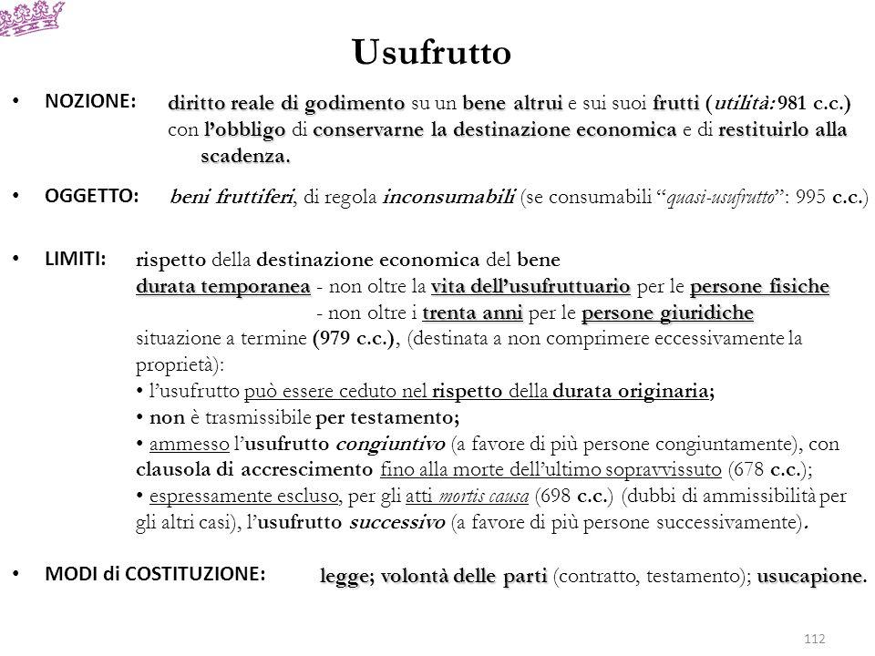 UsufruttoNOZIONE: OGGETTO: LIMITI: MODI di COSTITUZIONE: diritto reale di godimento su un bene altrui e sui suoi frutti (utilità: 981 c.c.)