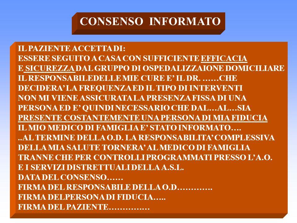 CONSENSO INFORMATO IL PAZIENTE ACCETTA DI: