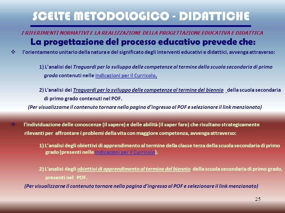 La progettazione del processo educativo prevede che: