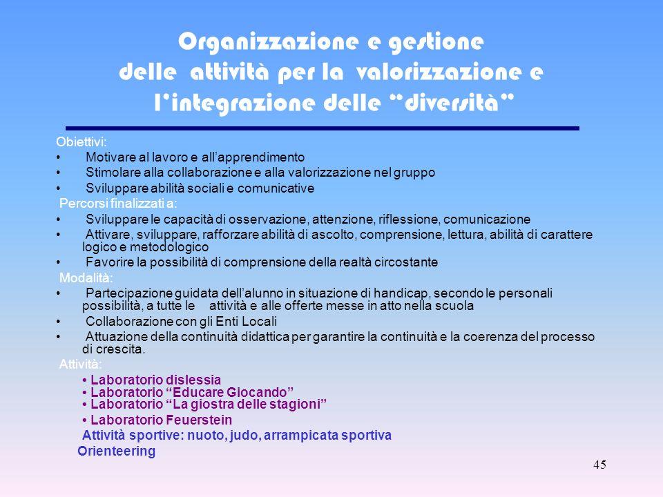 Organizzazione e gestione delle attività per la valorizzazione e l'integrazione delle diversità
