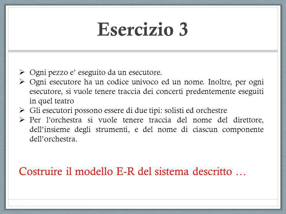 Esercizio 3 Costruire il modello E-R del sistema descritto …