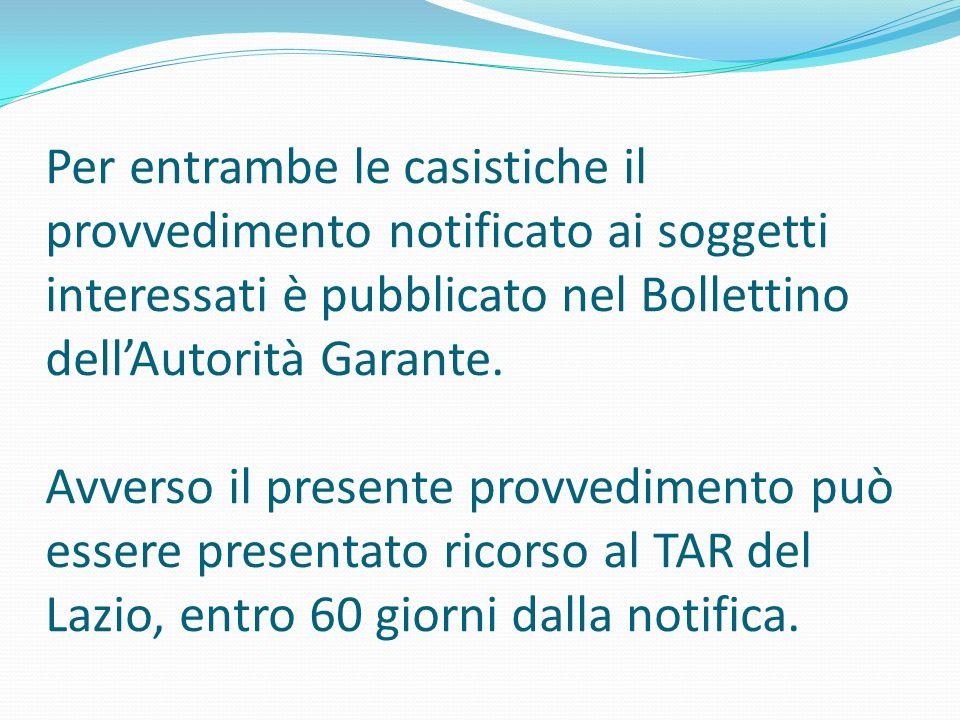 Per entrambe le casistiche il provvedimento notificato ai soggetti interessati è pubblicato nel Bollettino dell'Autorità Garante.