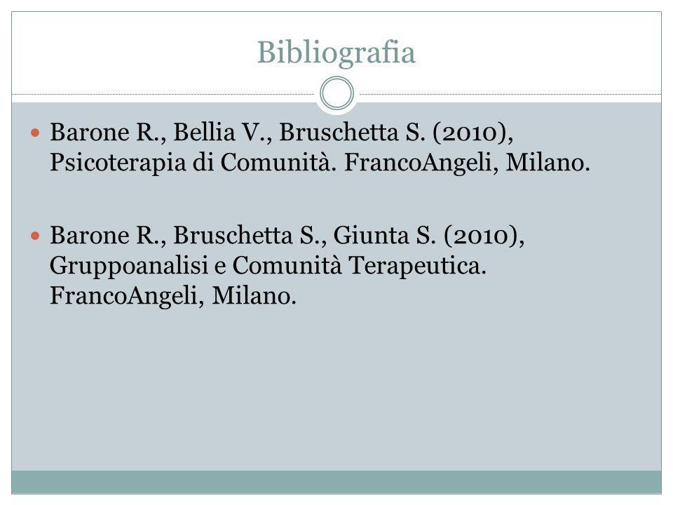 Bibliografia Barone R., Bellia V., Bruschetta S. (2010), Psicoterapia di Comunità. FrancoAngeli, Milano.