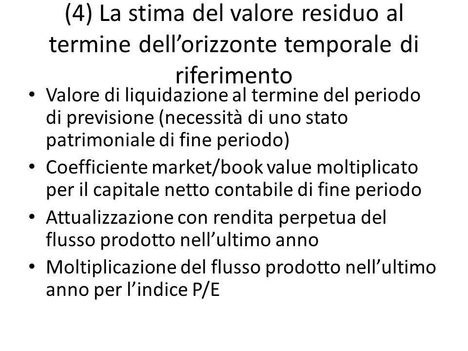 (4) La stima del valore residuo al termine dell'orizzonte temporale di riferimento