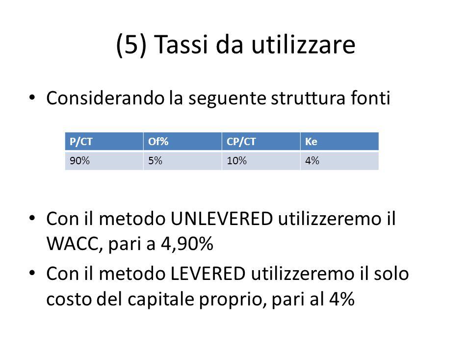 (5) Tassi da utilizzare Considerando la seguente struttura fonti
