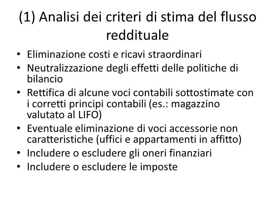 (1) Analisi dei criteri di stima del flusso reddituale
