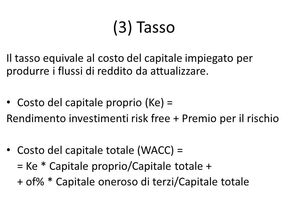 (3) Tasso Il tasso equivale al costo del capitale impiegato per produrre i flussi di reddito da attualizzare.