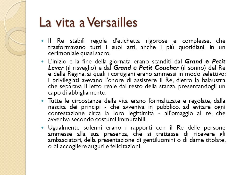 La vita a Versailles