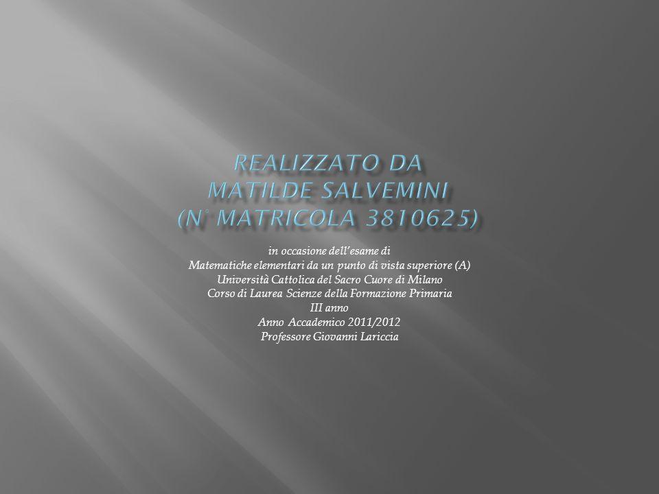 realizzato da Matilde Salvemini (n° matricola 3810625)