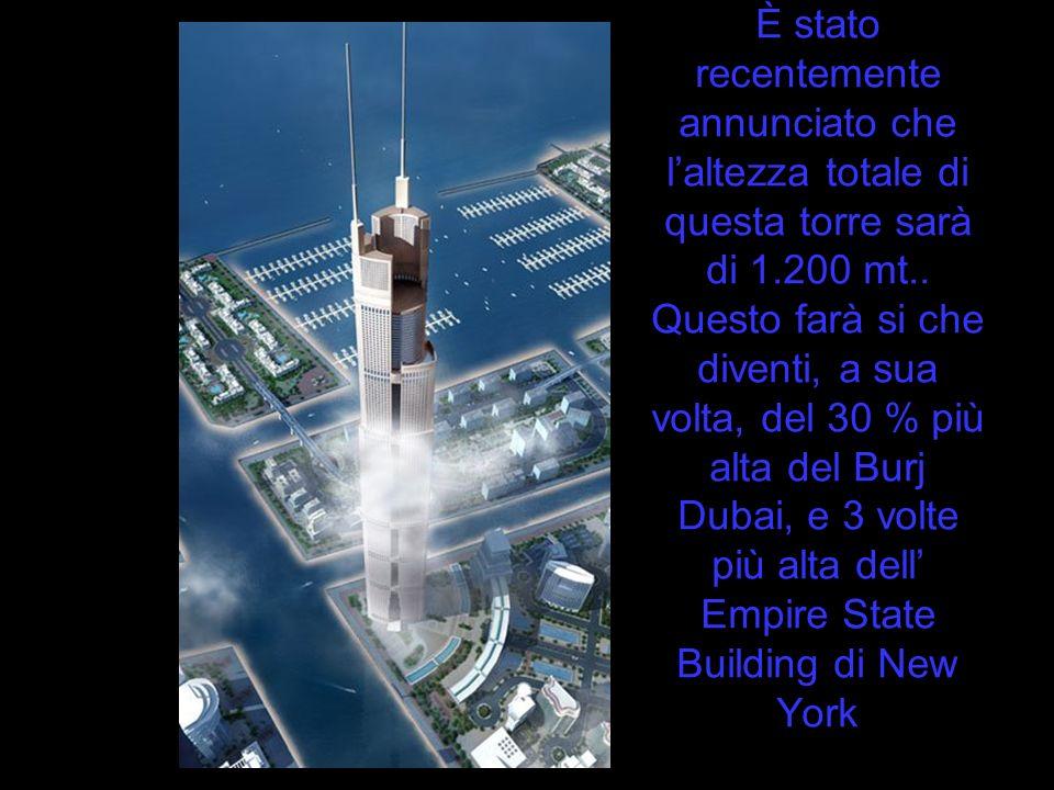 È stato recentemente annunciato che l'altezza totale di questa torre sarà di 1.200 mt..