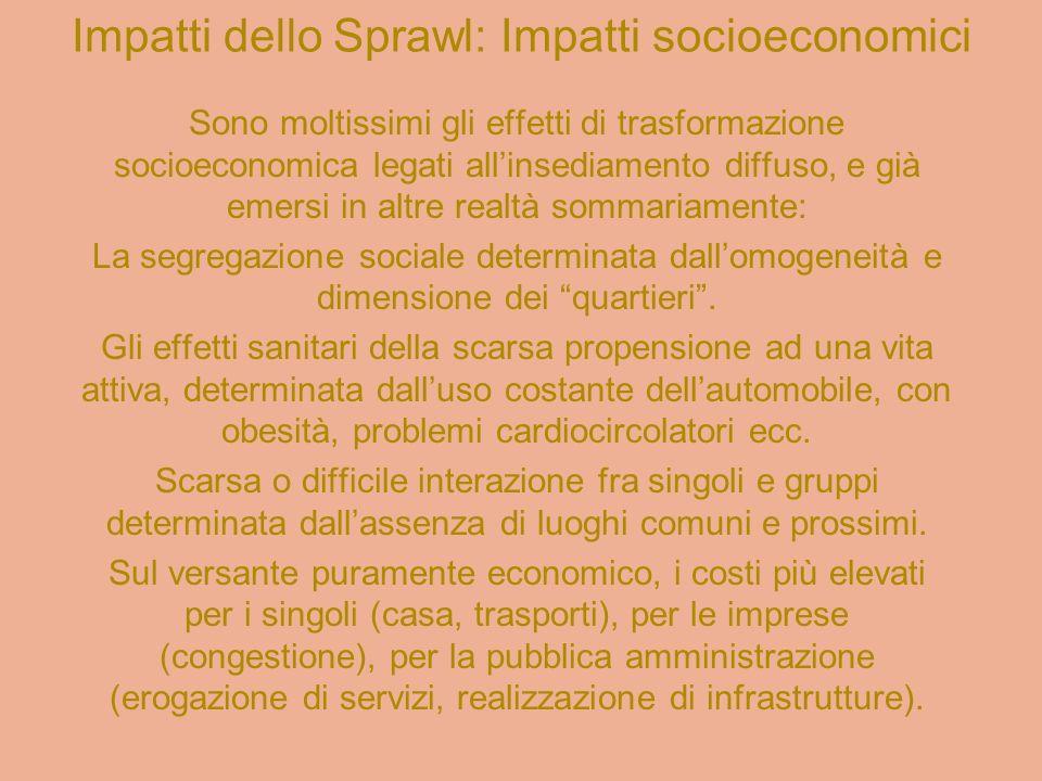 Impatti dello Sprawl: Impatti socioeconomici
