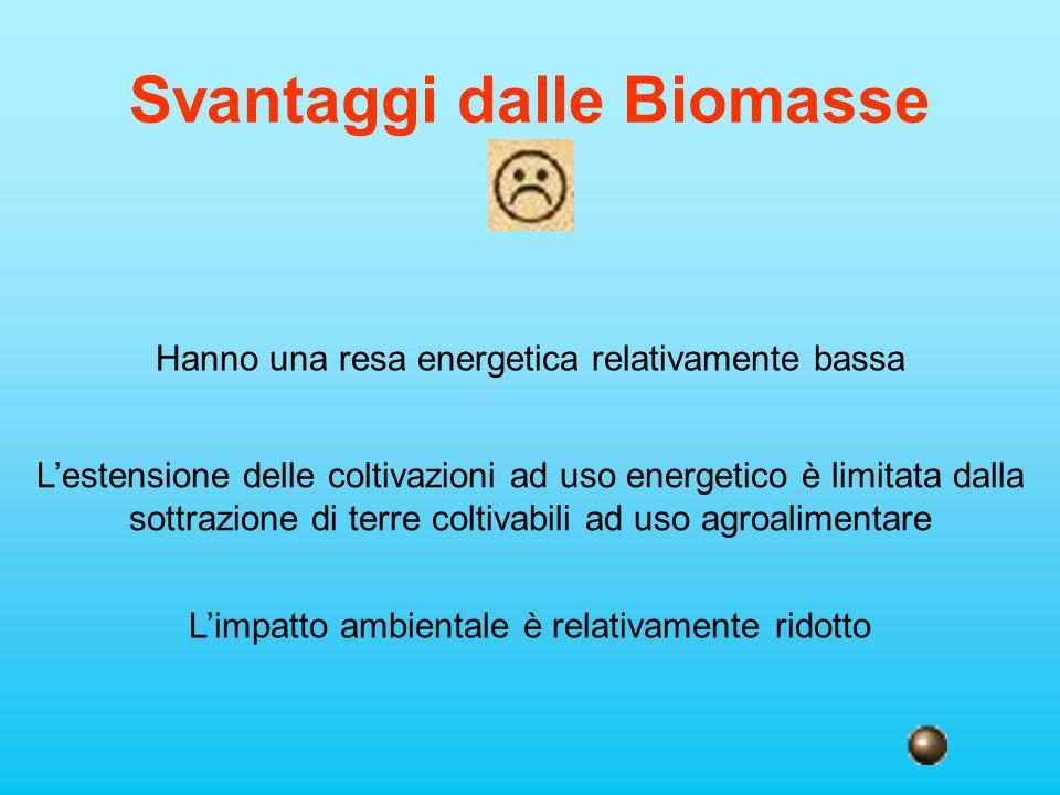 Svantaggi dalle Biomasse