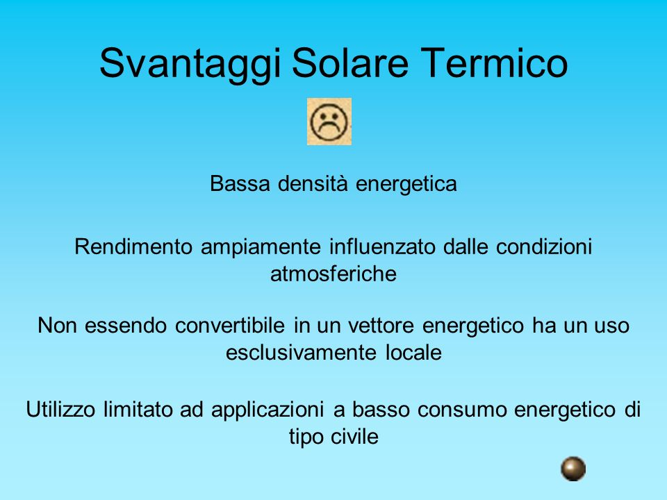 Svantaggi Solare Termico