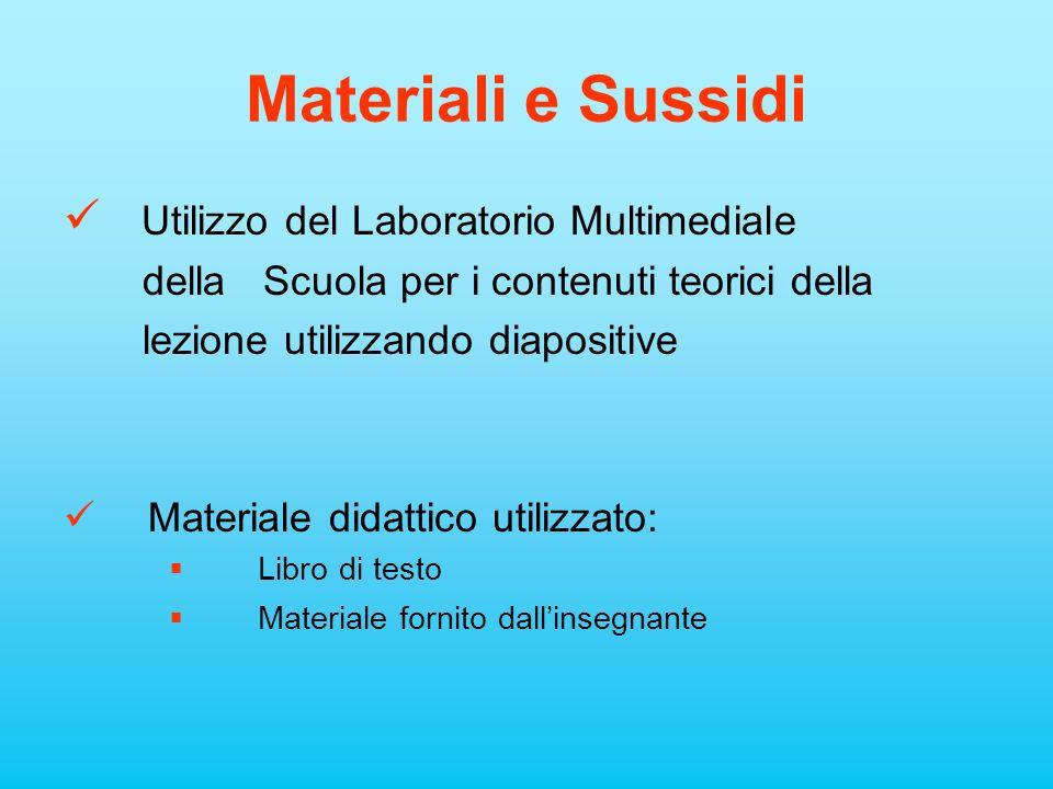 Materiali e Sussidi Utilizzo del Laboratorio Multimediale