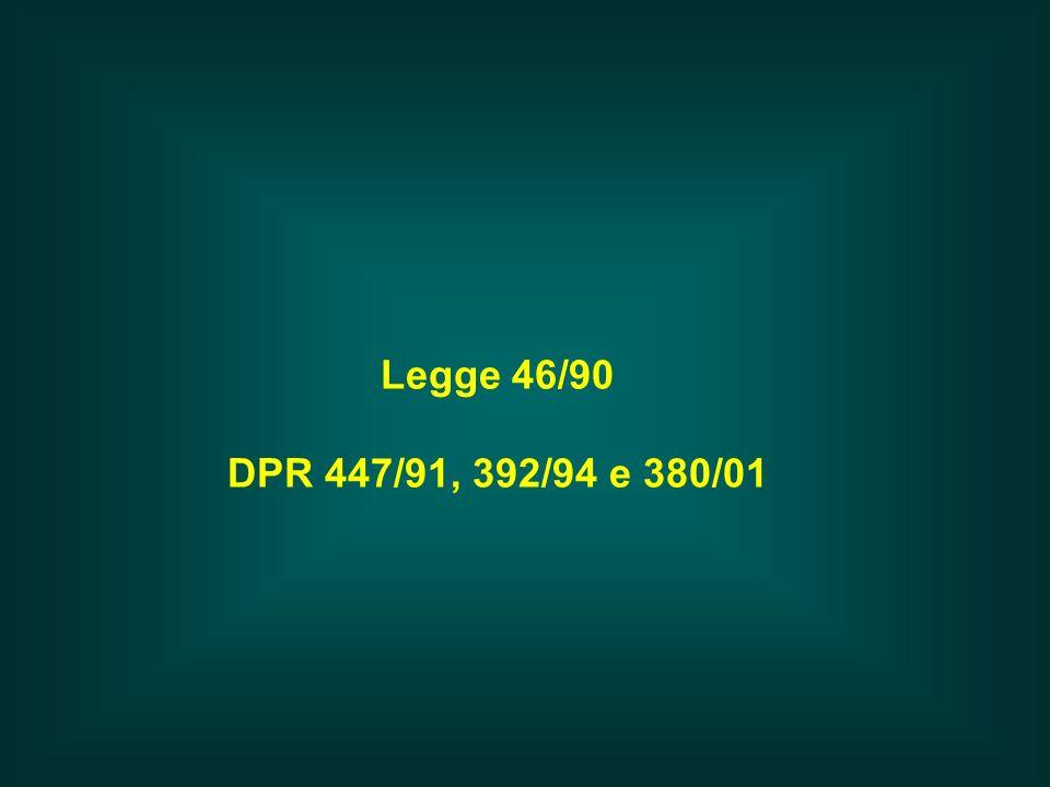 Legge 46/90 DPR 447/91, 392/94 e 380/01