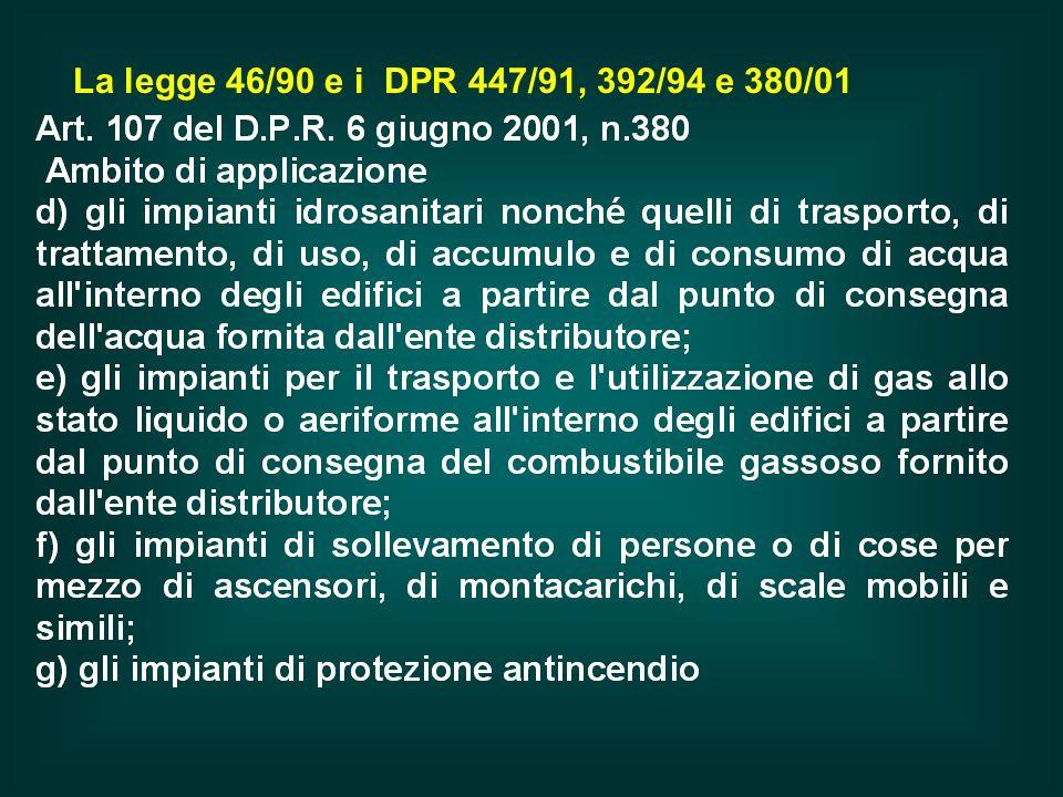 La legge 46/90 e i DPR 447/91, 392/94 e 380/01
