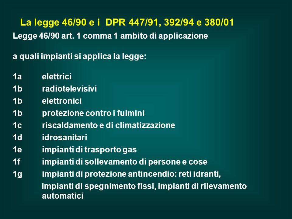 La legge 46/90 e i DPR 447/91, 392/94 e 380/01 Legge 46/90 art. 1 comma 1 ambito di applicazione. a quali impianti si applica la legge: