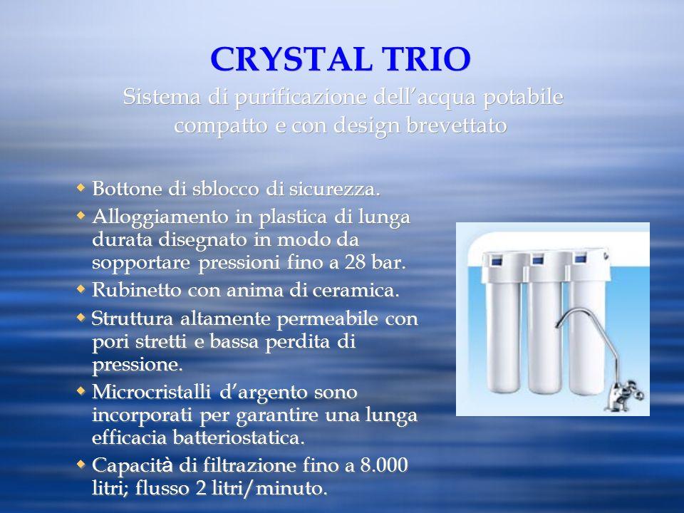 CRYSTAL TRIO Sistema di purificazione dell'acqua potabile compatto e con design brevettato