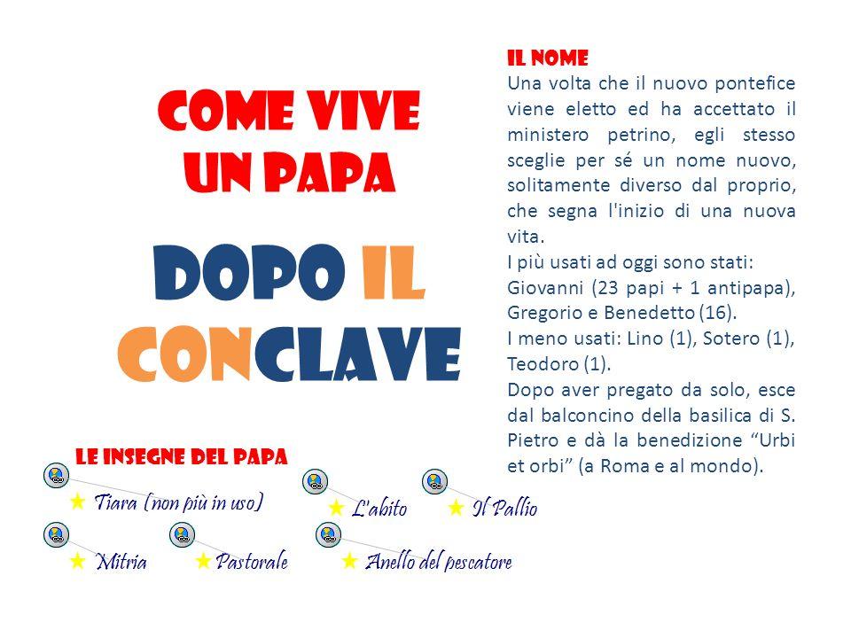 DOPO Il conclave COME vive UN PAPA IL NOME