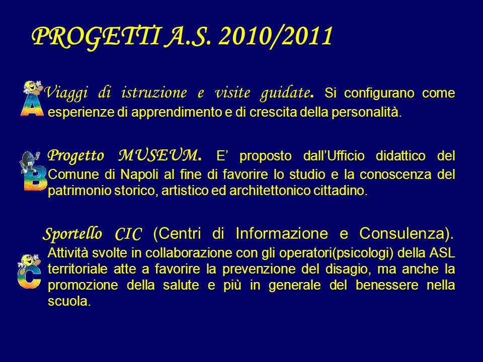 PROGETTI A.S. 2010/2011 Viaggi di istruzione e visite guidate. Si configurano come esperienze di apprendimento e di crescita della personalità.