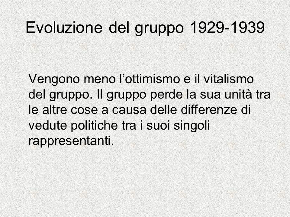 Evoluzione del gruppo 1929-1939