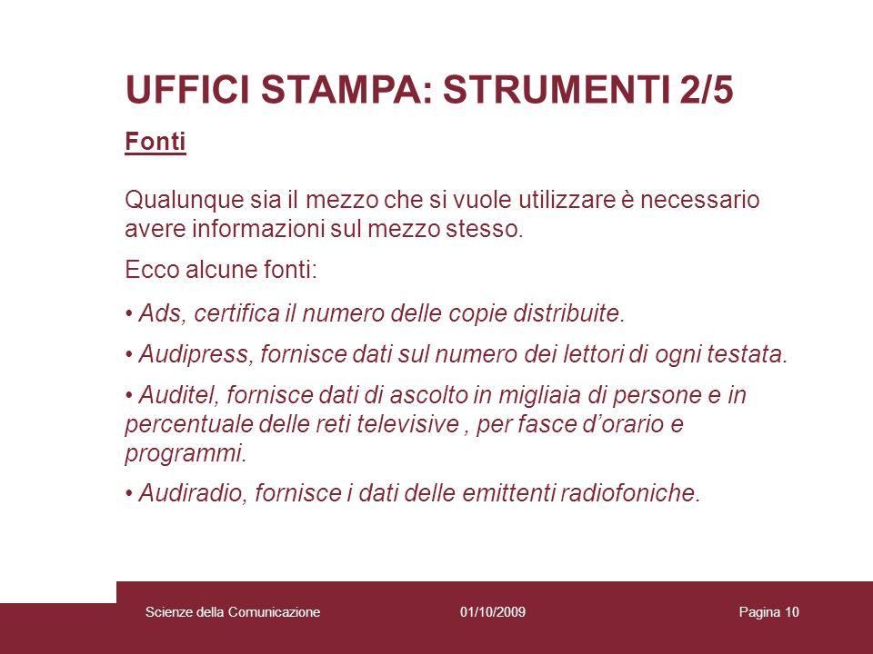UFFICI STAMPA: STRUMENTI 2/5