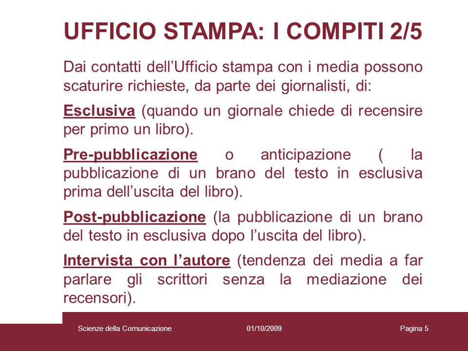 UFFICIO STAMPA: I COMPITI 2/5