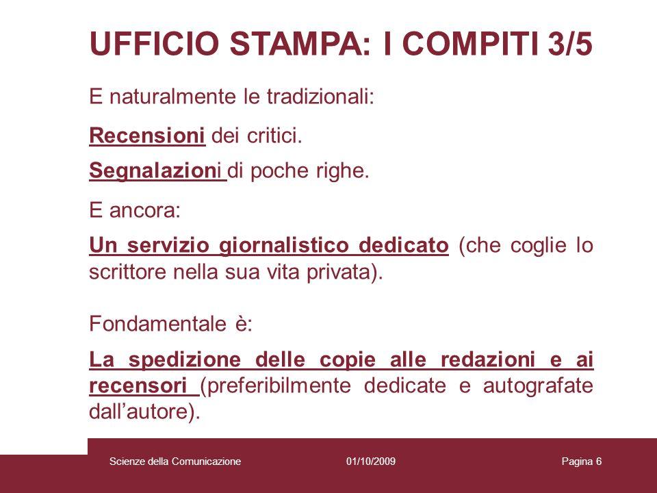 UFFICIO STAMPA: I COMPITI 3/5