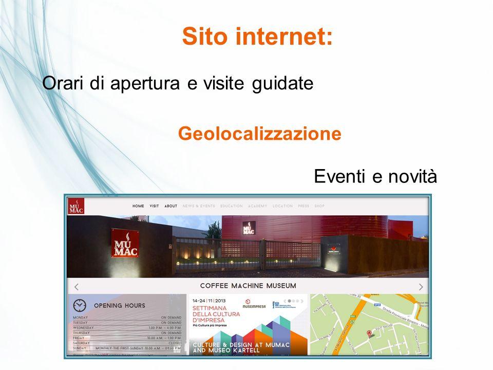 Sito internet: Orari di apertura e visite guidate Geolocalizzazione