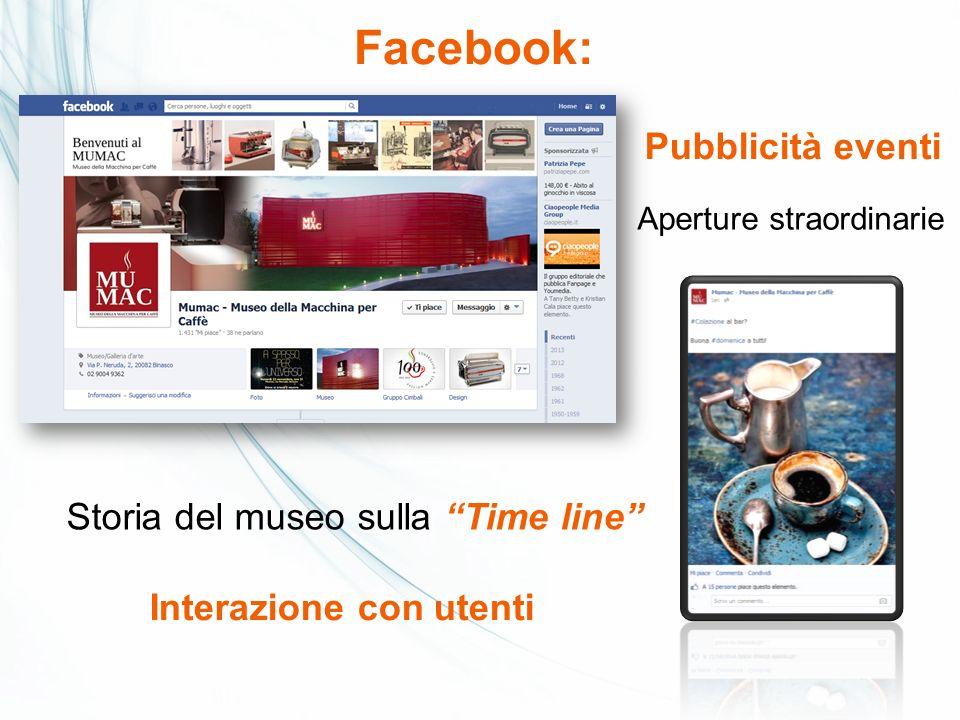 Facebook: Pubblicità eventi Storia del museo sulla Time line