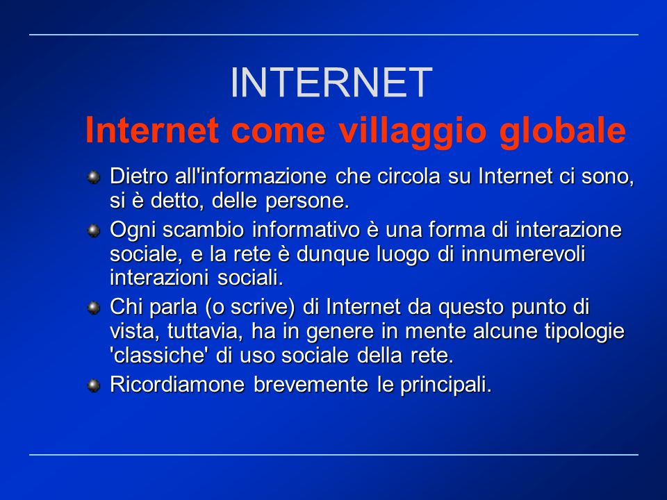 Internet come villaggio globale