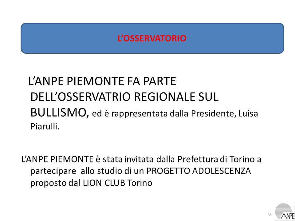 L'OSSERVATORIO L'ANPE PIEMONTE FA PARTE DELL'OSSERVATRIO REGIONALE SUL BULLISMO, ed è rappresentata dalla Presidente, Luisa Piarulli.