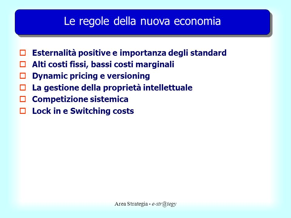 Le regole della nuova economia