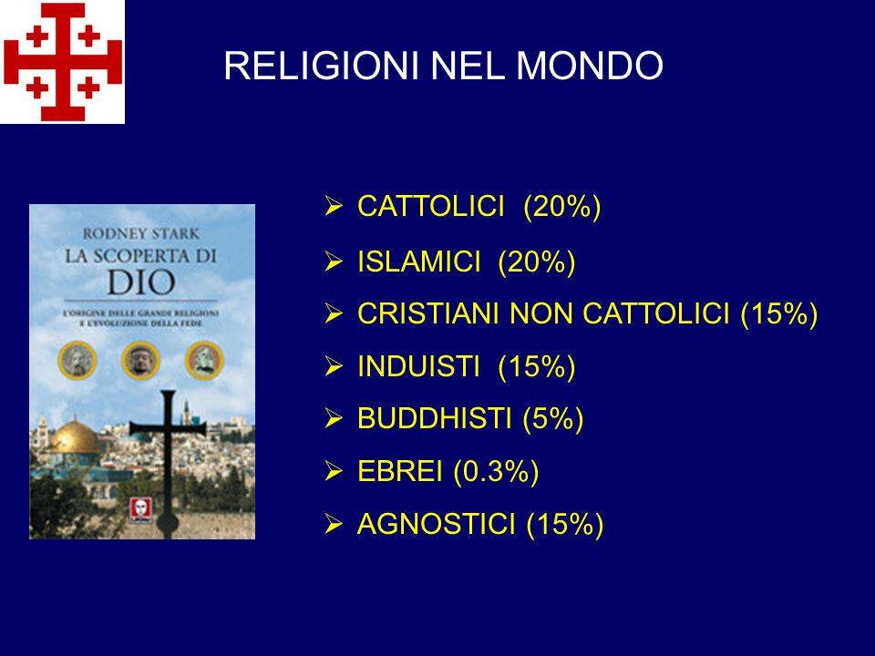 RELIGIONI NEL MONDO CATTOLICI (20%) ISLAMICI (20%)