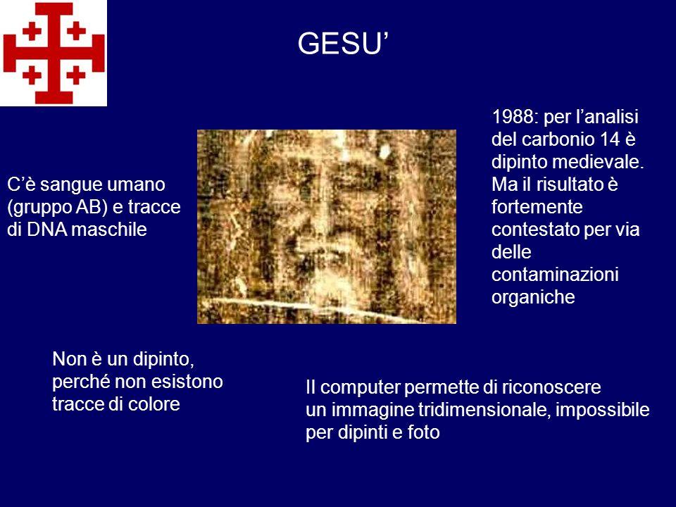 GESU' 1988: per l'analisi del carbonio 14 è dipinto medievale.