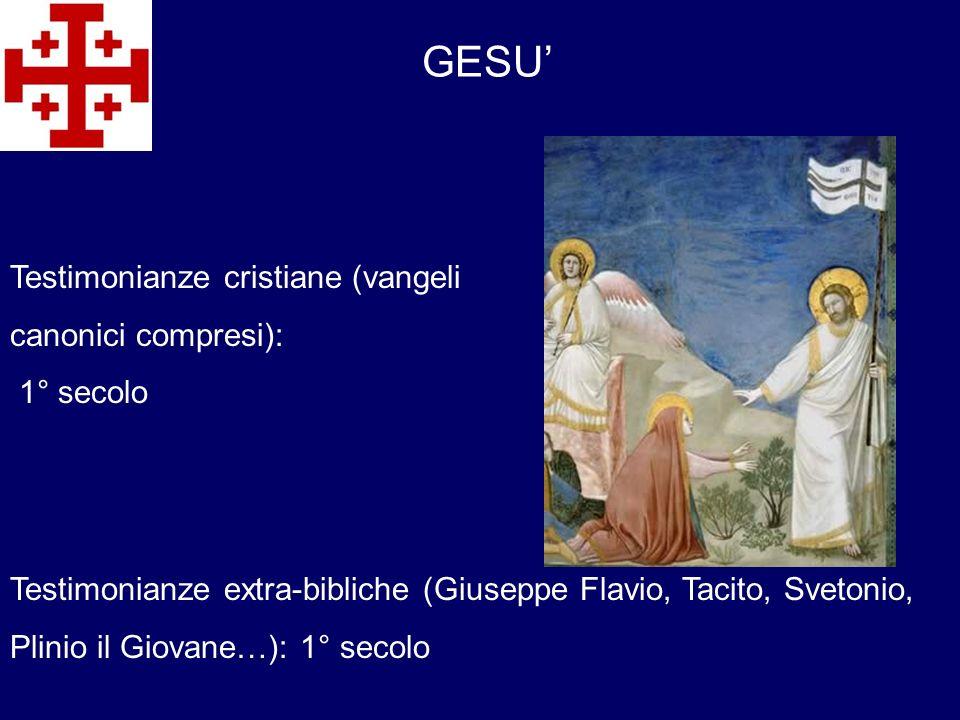 GESU' Testimonianze cristiane (vangeli canonici compresi): 1° secolo
