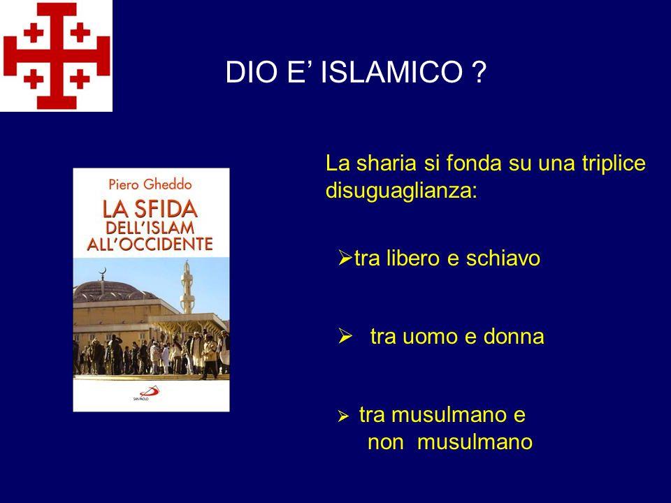DIO E' ISLAMICO La sharia si fonda su una triplice disuguaglianza: