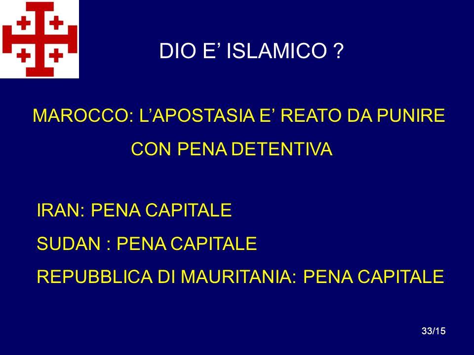 DIO E' ISLAMICO MAROCCO: L'APOSTASIA E' REATO DA PUNIRE