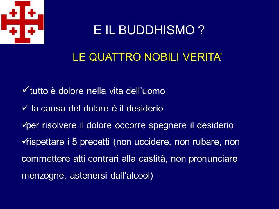 E IL BUDDHISMO LE QUATTRO NOBILI VERITA'