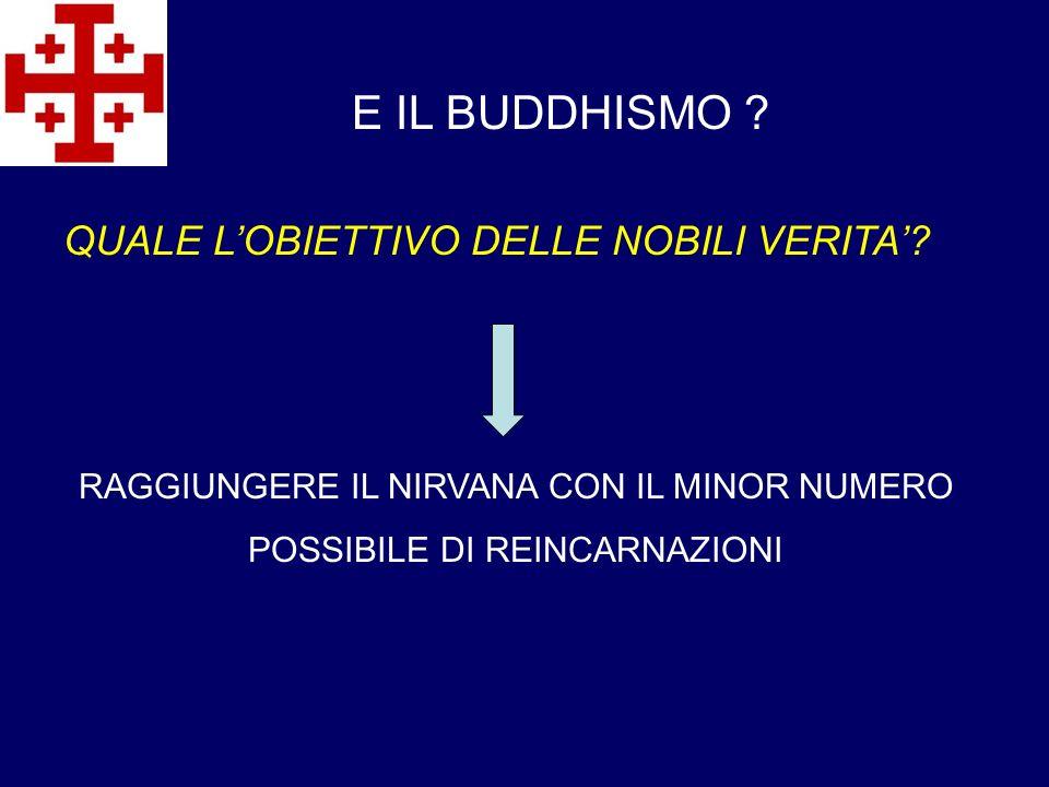 E IL BUDDHISMO QUALE L'OBIETTIVO DELLE NOBILI VERITA'