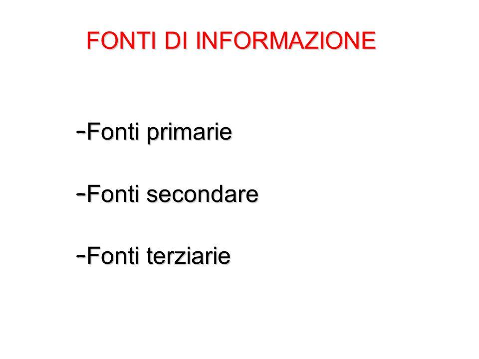 FONTI DI INFORMAZIONE Fonti primarie Fonti secondare Fonti terziarie